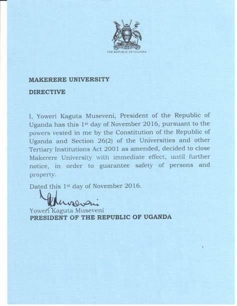 president-to-makerere
