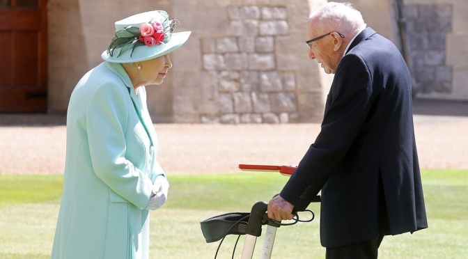 Queen Elizabeth Knights 100-Year-Old Captain Sir Tom Moore In Colorful Event